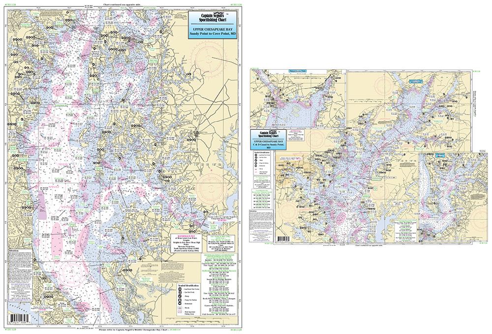 Fishing map upper chesapeake bay cbu120 bc atlantic ebay for Chesapeake bay fishing map